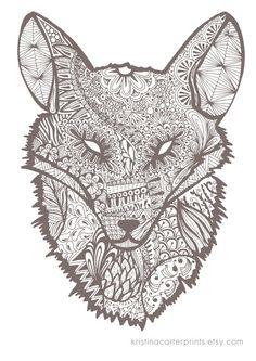 Fox Art by KristinaCarterPrints on Etsy