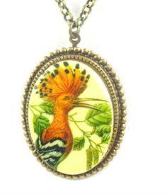 Bird Brass Necklace Bird Cameo Necklace Pen by TashaHusseyDesigns, $42.00