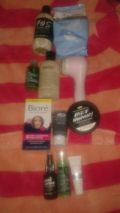 My skin care routine for clear skin and no blackheads.  These are the products I use (you can substitute any of them) in this order. First remove all makeup ( either with makeup wipes or the lush 9 to 5 lotion cleanser) then wash face with any cleanser and clairisonic,  then use a biore nose strip,  and once that's done I like to use a pore  cleaning mask (like the lush mask of magnaminty or the origins charcoal mask or the Aztec clay mask) after you wash of the mask use a tea tree serum (…
