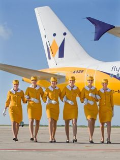 Vintage Monarch Airlines flight crew.