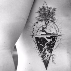 The Fountain Balazs Bercsenyi #bangbangnyc #balazsbercsenyi #blackwork #blackandgrey #geometric #tree #nature #human #dotwork #tattoooftheday