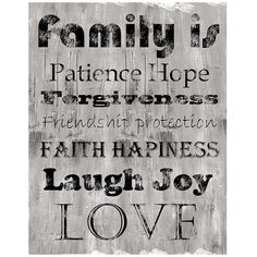 """Inspirational Love And Family 28"""" High Canvas Wall Art (€98) ❤ liked on Polyvore featuring home, home decor, wall art, words, grey, quote wall art, canvas wall art, quote canvas wall art, abstract home decor and gray home decor"""