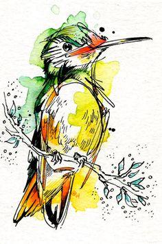 Lime Hummingbird par AbbyDiamondDraws sur Etsy