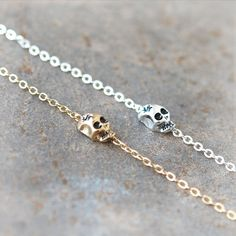 Tiny Skull Bracelet / Choose your color / gold and door laonato, $15.00