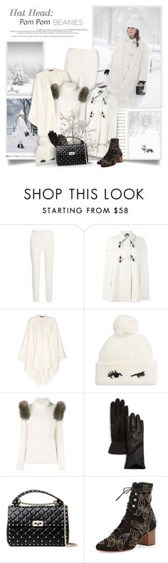 """Hat Head: Pom Pom Beanies"" by thewondersoffashion ❤ liked on Polyvore featuring Roland Mouret, Burberry, The Row, Kate Spade, Forte Couture and Valentino"