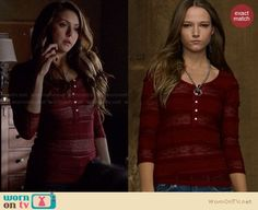Katherine's red lace henley top on The Vampire Diaries.  Outfit Details: http://wornontv.net/27779/ #TheVampireDiaries