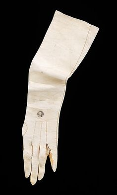 """Leather Gloves, 1824, American. """"This glove commemorates General Lafayette's historic Grand Tour of the United States in 1824 to celebrate the nation's 50th anniversary. It was probably worn to the welcoming reception held in New York City on August 24, 1824"""" Brooklyn Museum Costume Collection, Metropolitan Museum of Art. 2009.300.1662"""