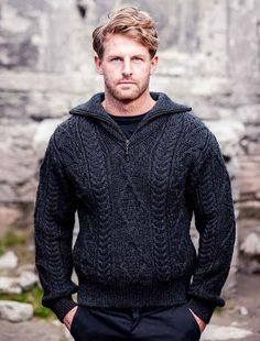 Aran Sweater with Zip Neck - Charcoal