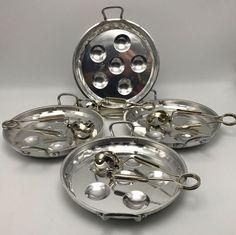 4 Metal Escargot Set Snail Dish Serving Plate Tong Holder French France