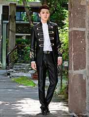 Black Solid Slim Fit Tuxedo In Polyester – USD $ 114.99