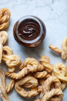 Churros with Chocolate Sauce | ZoëBakes | eat dessert first