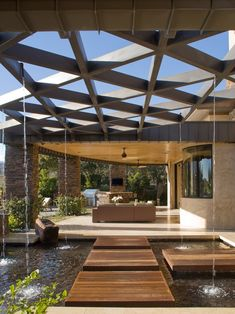 modern patio wooden pergola design garden pond outdoor furniture