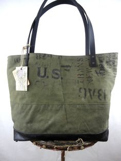 514eef620597 US MILITARY BAG Tote Leather   Canvas Large Carry All Weekend Overnight