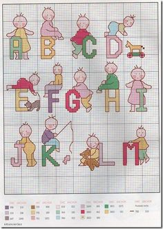 Graphics-cross-stitch alphabet Abecedario child-monogram-child
