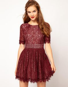 burgandy  cocktail lace | Darling Amelia Lace Skater Dress in Brown (burgundy) - Lyst