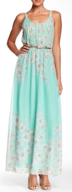 sweet mint floral maxi dress