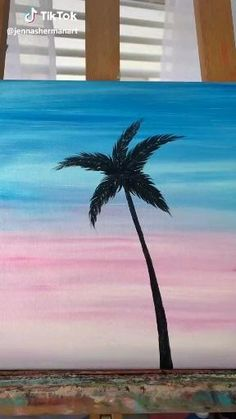 Simple Canvas Paintings, Easy Canvas Art, Small Canvas Art, Mini Canvas Art, Acrylic Painting Canvas, Palm Tree Paintings, Easy Art, Easy Acrylic Paintings, Palm Tree Drawing