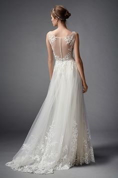 Will you say yes to this romantic wedding dress with breathtaking illusion back detail? Watters, Fall 2015
