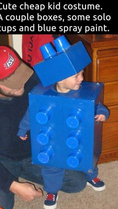 Lego costume - boxes and cups and spray paint Lego Halloween Costumes, Lego Costume, Blue Costumes, Diy Halloween Costumes For Kids, Diy Costumes, Halloween Crafts, Costume Ideas, Blue Spray Paint, Preschool Crafts
