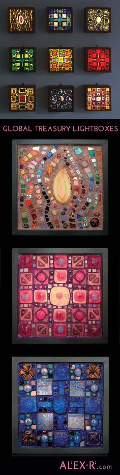 The 'Global Treasury' range of lightboxes are sumptuous collages in glass which will make your walls glow with pleasure. #sparkle www.alex-r.com