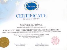 """Certificate of completion of the training programme """"Enhancing the Effectivity of Training Activities: Project management for educational professionals, managers and trainers"""" Train Activities, Certificate Of Completion, Project Management, Training Programs, Trainers, Education, Projects, Tennis Sneakers, Log Projects"""