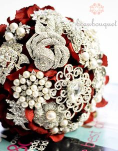 Bridal Bouquet Wedding Bouquet Embellished With Jeweled Brooches Custom Order DEPOSIT. $150.00, via Etsy.