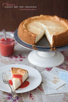 The perfect New York Cheesecake with easy Strawberry Sauce, based on my grandma' Elaine's recipe.