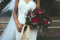 Moody burgundy & marsala bridal bouquet by San Diego wedding florist, Compass Floral.