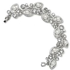 #Wholesalejewelry Silver Crystal Rhinestone Eye Shape with White Pearl Insert and Crystal Stones Bracelet