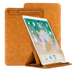Jisoncase Leather Pouch Bag Folding Cover with Pencil Slot for iPad Pro 10.5/12.9 inch