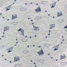 Tissu Jersey Jolis Cerfs-volants - bleu/gris x 10cm