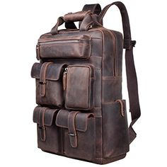 S-ZONE Vintage Crazy Horse Genuine Leather Backpack Multi Pockets Travel Sports bag Description This bag is made of top quality genuine leather, strong and Laptop Tote Bag, Laptop Rucksack, Duffel Bag, Horse Backpack, Backpack Bags, Luggage Backpack, Messenger Bags, Luggage Bags, Leather Luggage