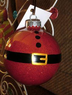 Hand painted Santa Ornament. Maar dan glitter aan de buitenkant