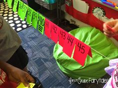 Create a GIANT number line using string & notecards..plus, a FREEBIE! :)