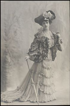 Eve Lavallière (stage name of Eugenie Fenoglio) (1866- 1929). One of the foremost French stage actresses of the late 1800's to early 1900's.
