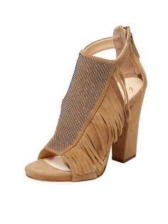 12d97a06ec7 Studded Fringe Suede Block-Heel Sandal