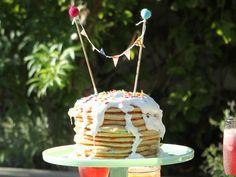 Confetti Pancake Cake recipe from Patricia Heaton Parties via Food Network  substitute reg milk for buttermilk
