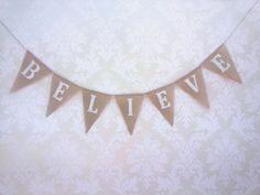 'Believe' Burlap Bunting - Burlap Bunting, Wedding Hire, Tapestry, Decor, Women, Hanging Tapestry, Tapestries, Decoration, Wedding Suit Rental