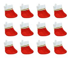 Beistle 12 Piece Mini Christmas Stockings 6 RedWhite >>> Find out more about the great product at the image link. (This is an affiliate link) Mini Christmas Stockings, Mini Stockings, Doggy Stuff, Red And White, Image Link, Holiday Decor