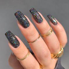 Black Nails With Glitter, Acrylic Nails Coffin Short, Silver Nails, Best Acrylic Nails, Sparkly Acrylic Nails, Black Ombre Nails, Black Coffin Nails, Black Nail Art, Long Nails