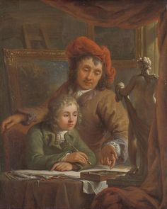 """The Drawing Lesson, Abraham van Strij (I), c. 1790 - c. 1809. Rijksmuseum:""""A young pupil receives drawing instruction in the studio of his master. Perhaps the teacher is Abraham van Strij himself, who shared a large workshop in Dordrecht with his brother Jacob. The boy is drawing after a plaster cast of an ancient statue."""""""