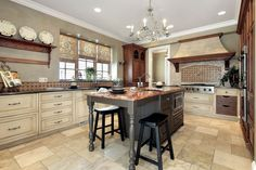 photo: Luxury Kitchen with Granite Top Kitchen Island