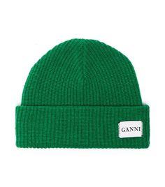 Ganni Green Knit Logo Beanie Knitting 2601a0c3c300