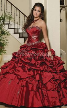 Burgundy Taffeta Sweetheart Ball Gown Quincenera Dresses- My sister wants this dress! The color is beautiful!