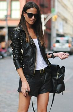 Leather street style #perfecto #black #short