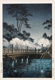 Japanese Woodblock Print Landscape by Kawase Hasui : Lot 379. Style inspiration. Please choose vegan art supplies