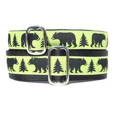 Black Bear Dog Collar - Exclusive Design! | Classic Hound Collar Co. #neongreen #blackbear #forest #nature #dogcollar #handcrafted #handmade #madeinUSA #madeinamerica