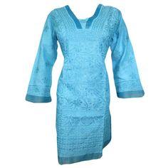 Mogulinterior Indian Tunic Top Blue Embroidered Cotton Designer Long Kurta Dress Small