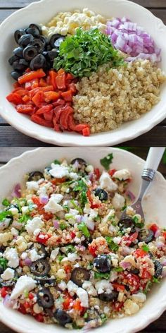 quinoa recipes Healthy and so easy to make, this Mediterranean Quinoa Salad makes a perfect lunch or dinner. All the flavors of Mediterranean cuisine in one bowl! Cooktoria for more deliciousness! Healthy Salads, Healthy Dinner Recipes, Healthy Eating, Cooking Recipes, Healthy Food, Keto Recipes, Healthy Lunches, Healthy Clean Dinner, Quinoa Salad Recipes Cold