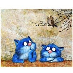 Blue cats of Rina Zeniuk Cat Drawing, Painting & Drawing, Diy Painting, Image Chat, Art Et Illustration, Blue Cats, Vintage Cat, Dog Art, Crazy Cats